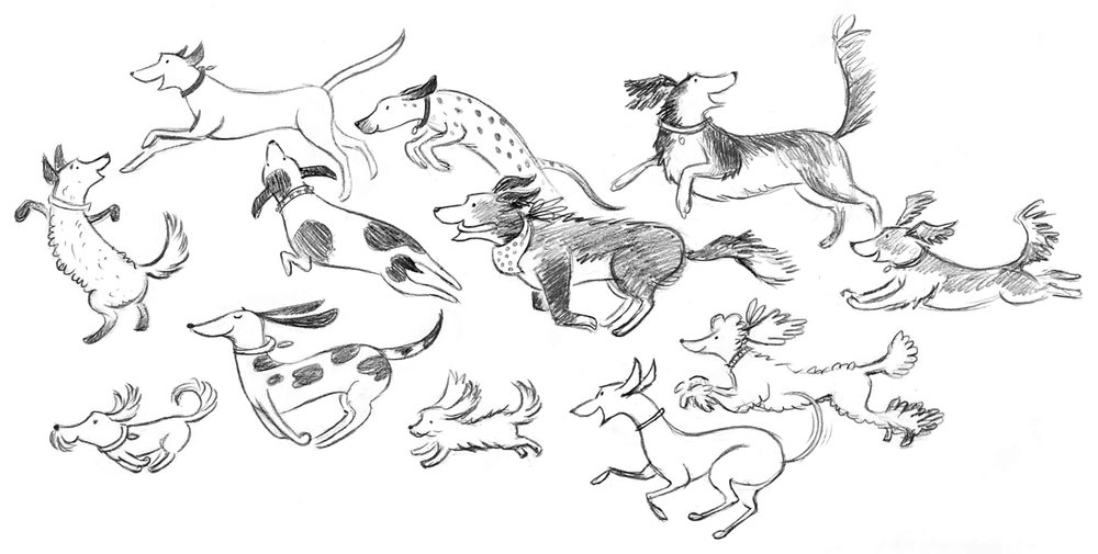 Sketches for Dog Walker page