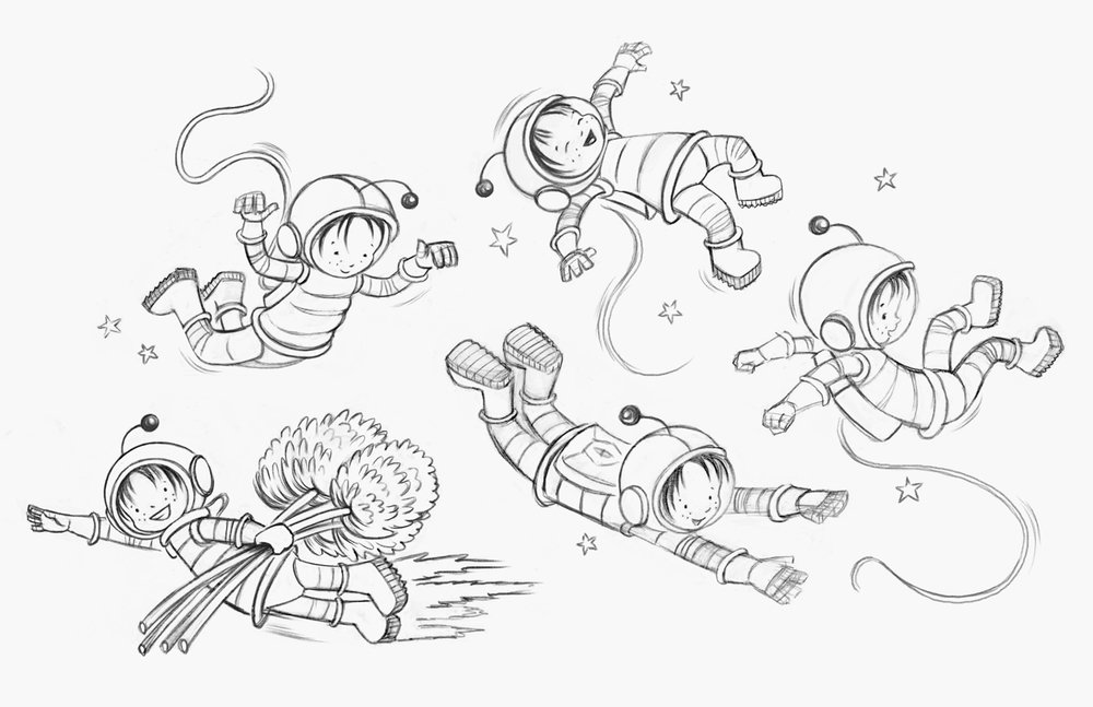 Astronaut Billie Sketches
