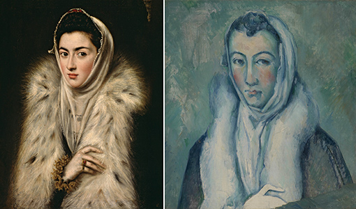 left: el greco's lady in a fur wrap; right: cezanne's lady in a fur wrap, after el greco