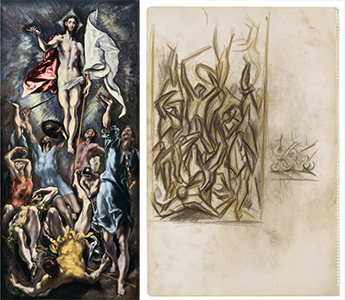 left: the resurrection of christ by el greco; right: untitled by pollock