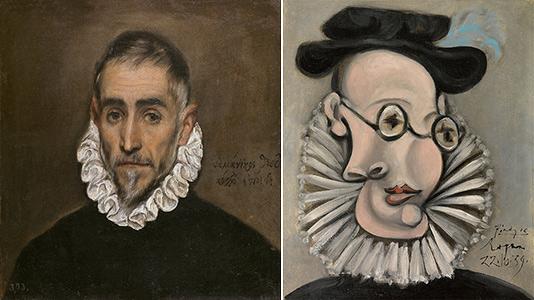 left: an old gentleman by greco; right: portrait of jaime sabartes with a ruff and a hat by picasso