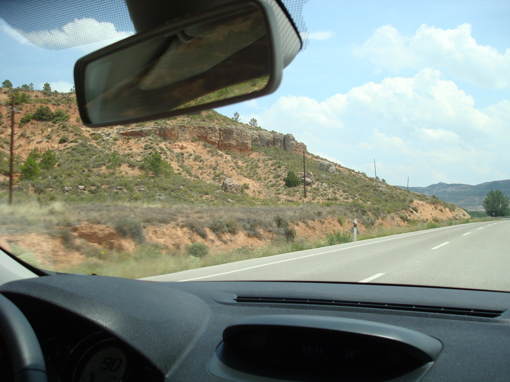 the view from a little french car in the big spanish countryside