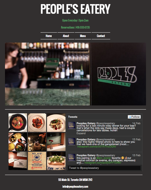 Mock Website for the restaurant People's Eatery