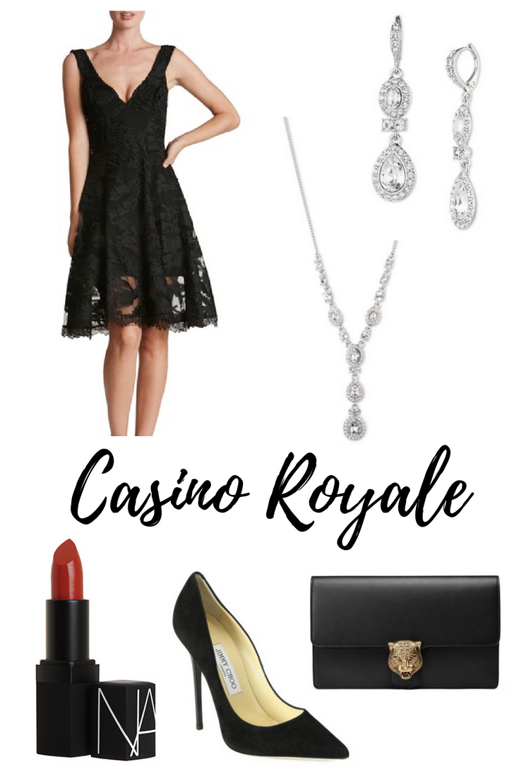 Dress  |  Necklace  |  Earrings  |  Shoes  |  Bag  |  Lipstick