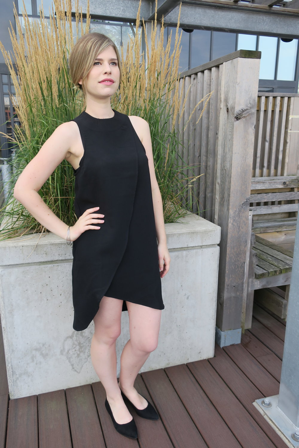 tobi little black dress overlay