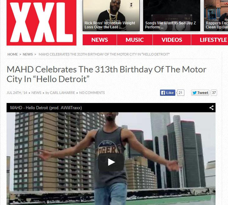 XXL Features MAHD's Music Video, Celebrating Detroit's 313th Birthday