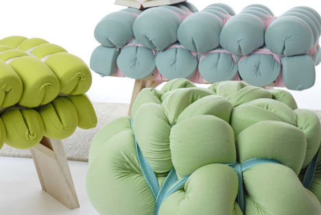 (via Zieharsofika upholstery made by folding foam mats by Meike Harde)