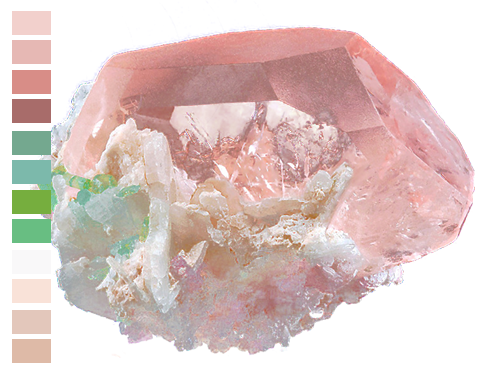 naturalpalettes :     A rare mix of minerals; Morganite, Tourmaline, Cleavelandite and Lepiodite.
