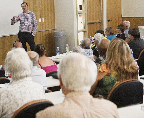 Dr. Craig Gustafson informed about 250 patients of the new flat-fee plan from Appleton Clinics at Houston Hall on Colorado Mesa University's campus on Thursday evening. Gustafson asks his patients to become members of his venture — in the same way they might join a gym — for $79 a month.
