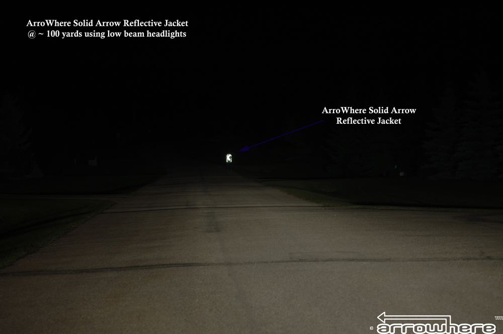 ArroWhere Solid Arrow Reflective Jacket @ ~ 100 yards distance using low beam headlights (North American/Euro Version Shown)