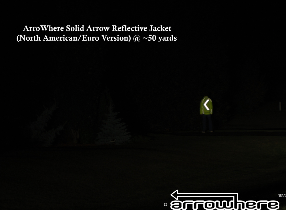 ArroWhere Solid Arrow Reflective Jacket @ ~ 50 yards distance using low beam headlights (North American/Euro Version Shown)