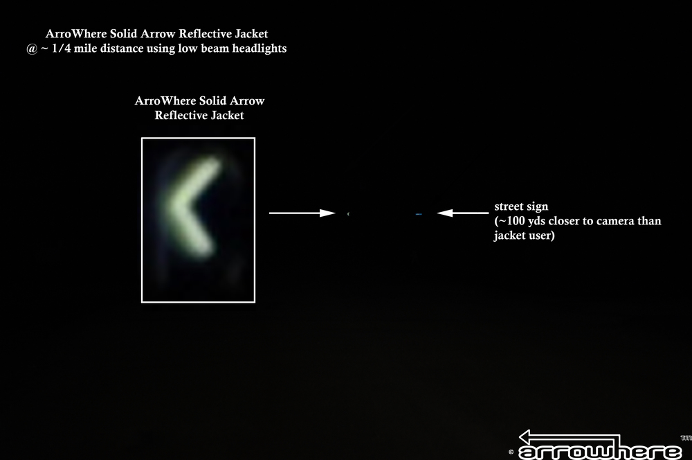 ArroWhere Solid Arrow Reflective Jacket @ ~ 1/4 mile distance using low beam headlights (North American/Euro Version shown).