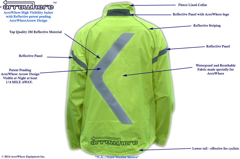 ArroWhere Equipment Inc. High Viz Jacket with Patent Pending Reflective Design (rear)
