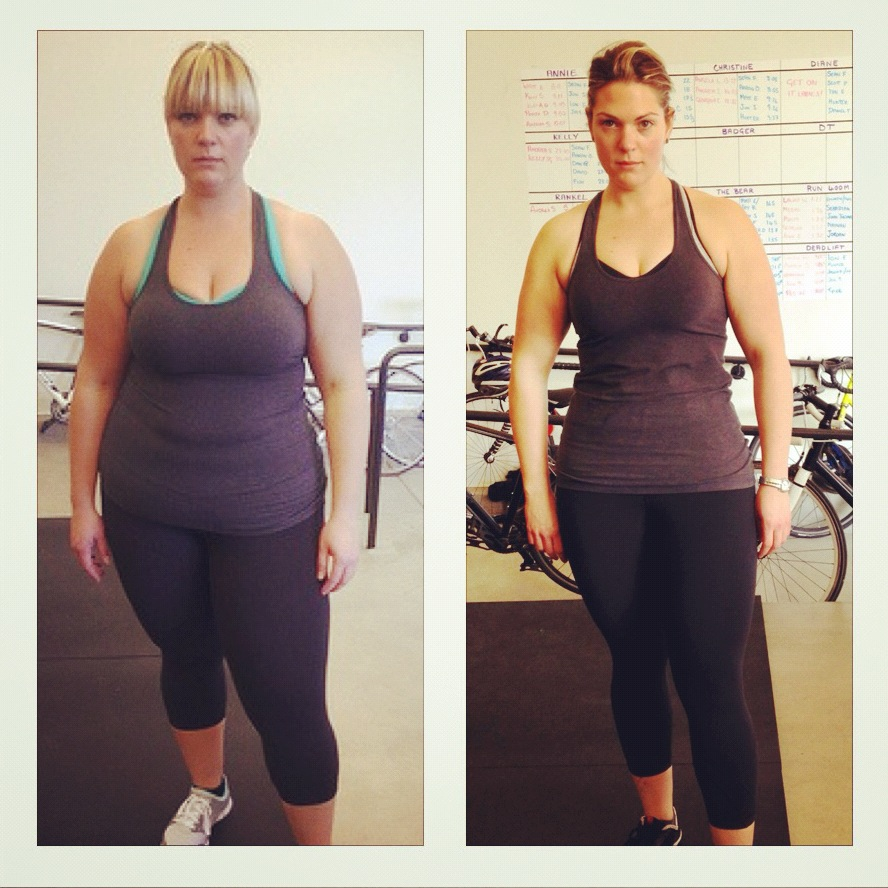 KELLY PART-WAY THROUGH HER  INCREDIBLE TRANSFORMATION ACHIEVED THROUGH DETERMINATION, CROSSFIT, AND THE PALEO DIET