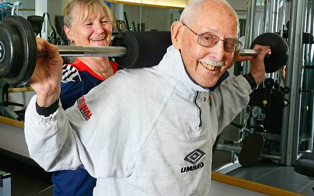 Charles in the gym with coach Sylvia Gattiker