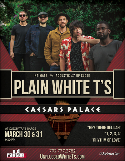 Plain White T's - In an intimate show at the Barge at Caesar's Palace, the guys of Plain White Ts played all their classics as well as unreleased new music. UD Factory was honored to produce this Las Vegas Strip show with their old friends in the band.