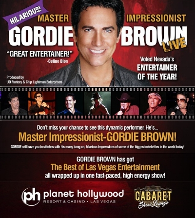 Gordie Brown - UD Factory is happy to produce the new Gordie Brown show playing at the Cabaret Theater at Planet Hollywood.Gordie Brown, premier impressionist of the Las Vegas Strip, is sure to wow and entertain fans.