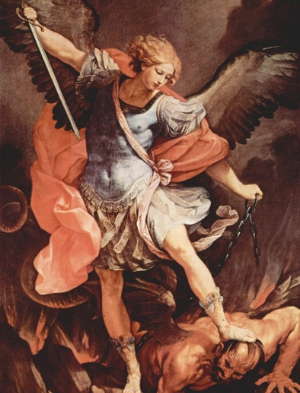 St Michael - wings and a sword. Done.