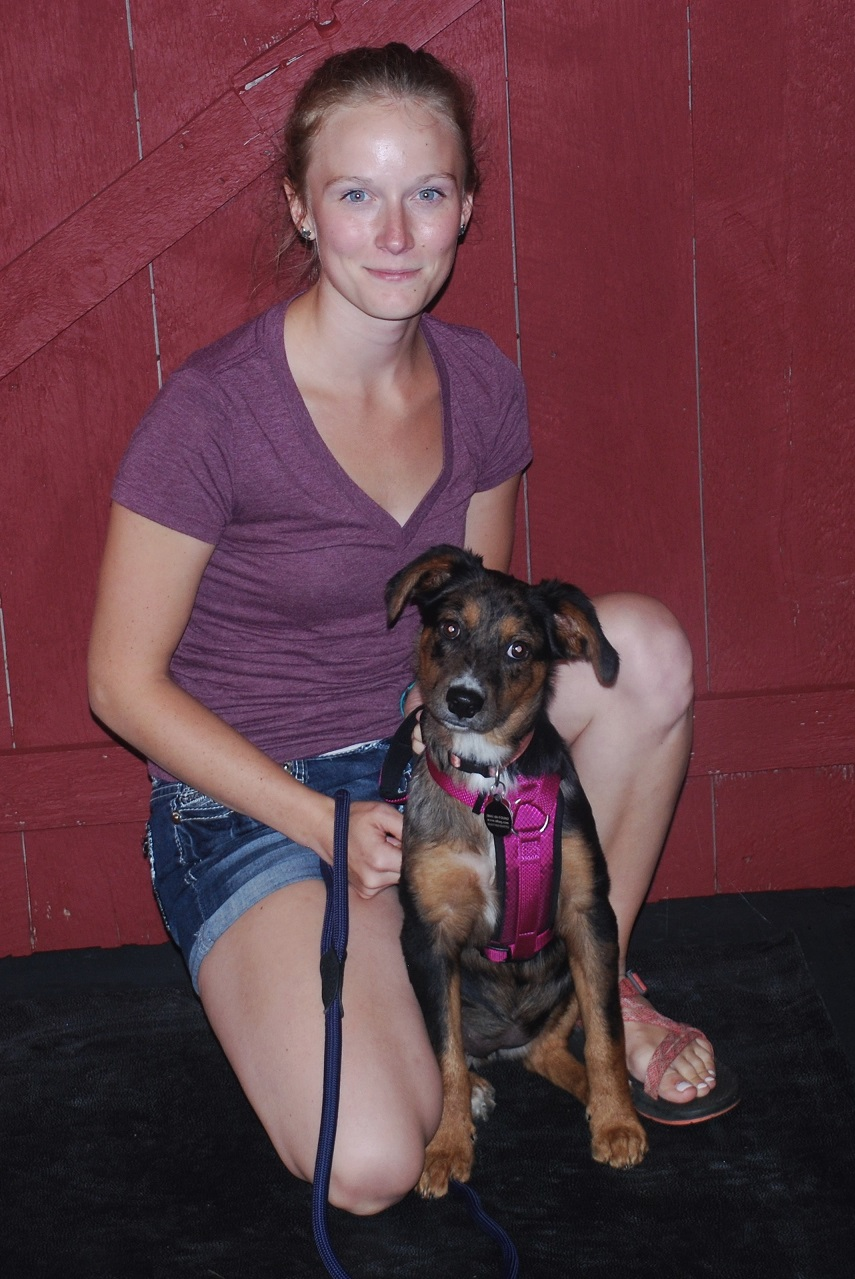 "Chelsie with Daija ""She helped Daija and myself work at a way to greet new dogs with less barking.  This has decreased frustration for me and allowed for my pup to meet new dogs.  I recommend Sue for training help!"""