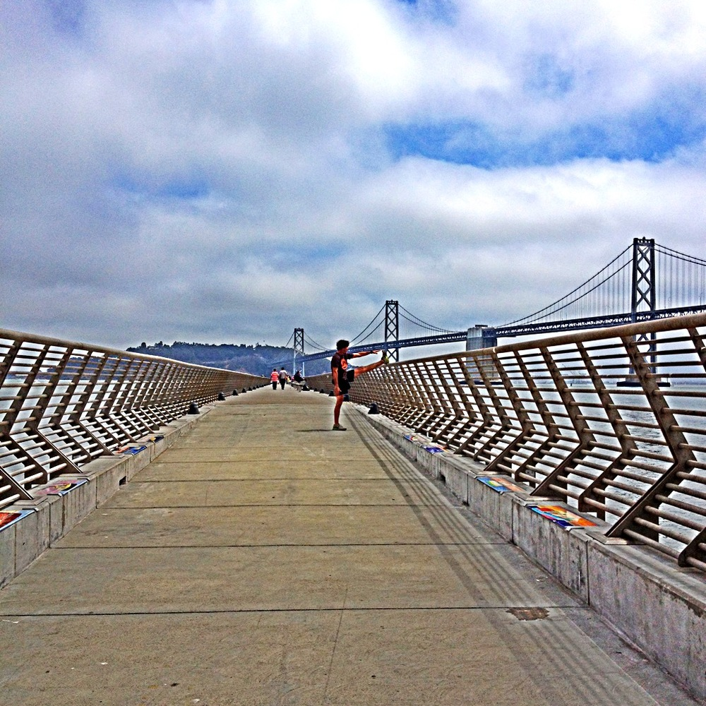 Susie says...    Pier 14 along the Embarcadero is a great spot for a mid-run burst of calisthenics to mix things up with perfect views of the Bay Bridge, Coit Tower and the skyscrapers downtown.