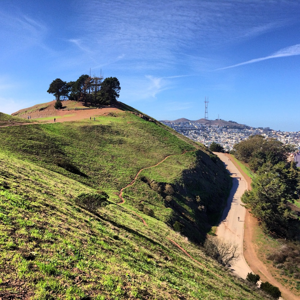 Susie says...    Bernal Hill Park is an awesome spot at the south end of the City to take a ultra-challenging hill run. Once at the top, you'll have a clear view of Sutro Tower, the 'Stick, both bridges and the East Bay.