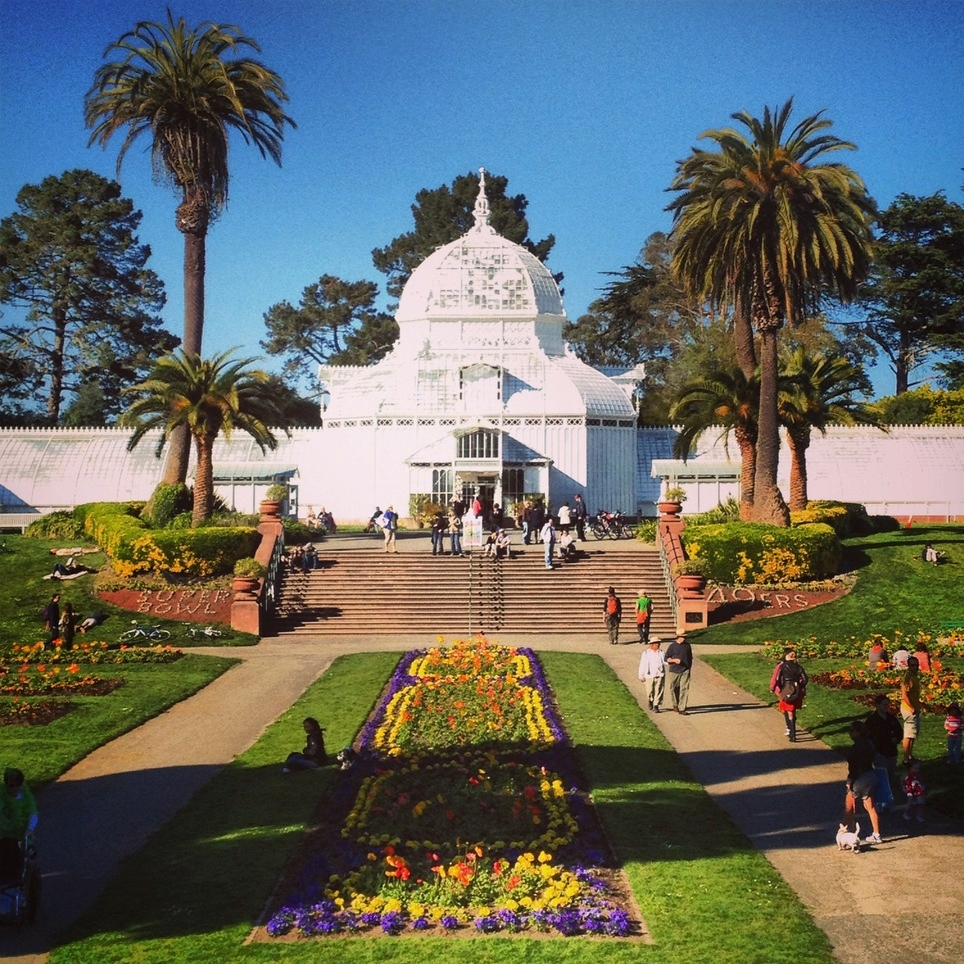 Susie says...    The Conservatory of Flowers is the crown jewel Golden Gate Park, in my opinion. Located at the east end of the park, I often route runs around the grounds so clients get to see the dahlia garden and the main lawn up-close. So beautiful!