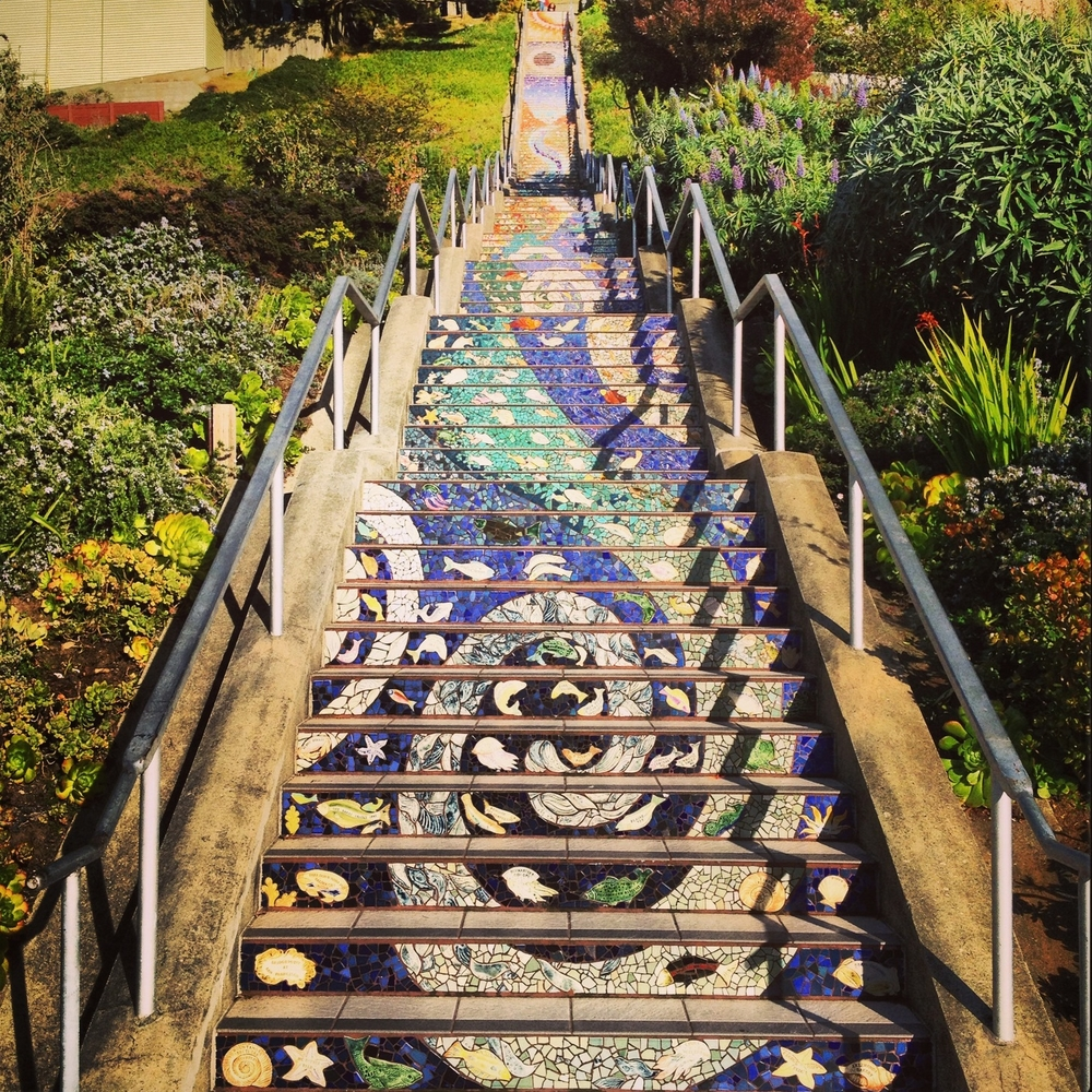 Susie says...    The Moraga Steps are one of over 600 staircases throughout the City. Families in the neighborhood came together and designed the mosaic that covers the stairs as a community which makes this gorgeous staircase extra special. They'll also kick your butt extra hard because there a  lot  of them!