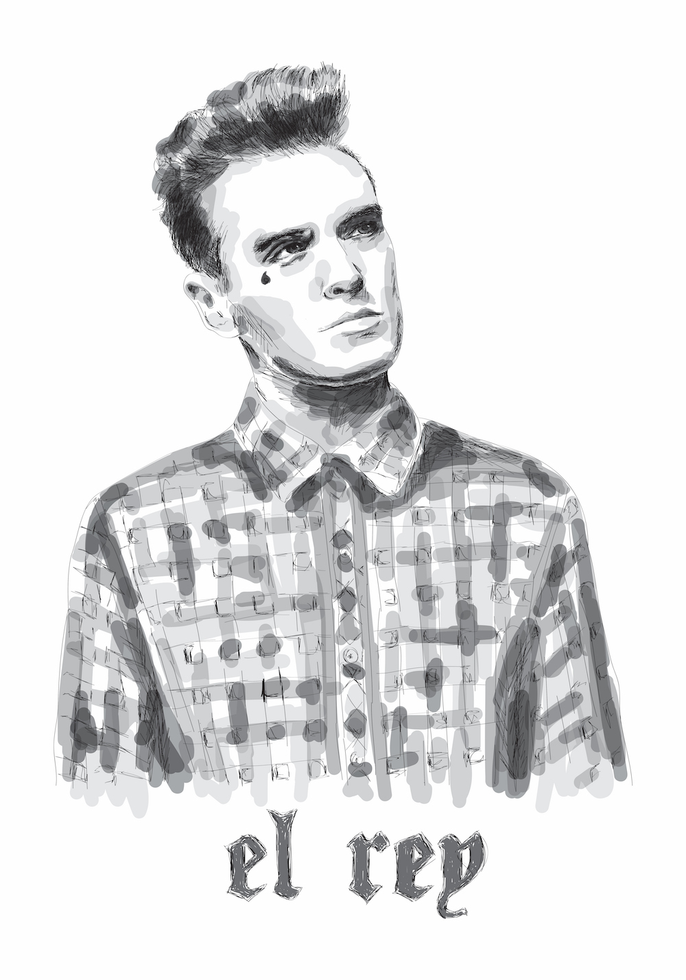 el rey - portrait of chicano morrissey, famous singer and frontman of the smiths.