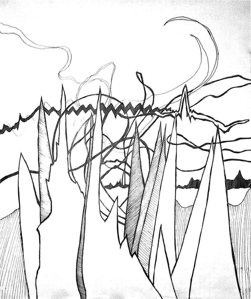 M83 Music Study, Pen on Tracing Paper, 2013 (View the painting  here )