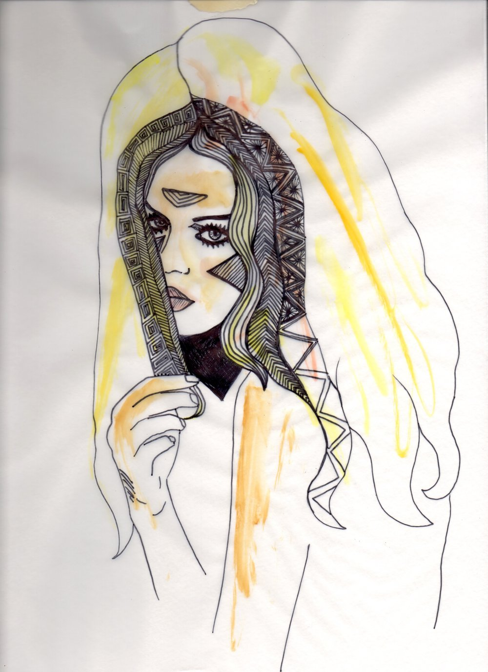 Vogue Pen Sharpie Drawing, Pen and Sharpie on Tracing Paper