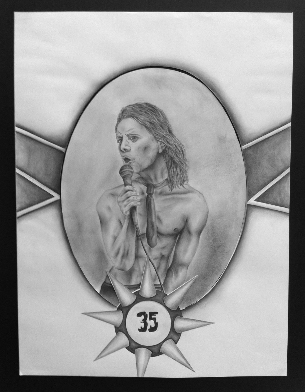 """35"", Conspiracy Theory Project - John F. Kennedy as Iggy Pop, Pencil on Paper, 2013"