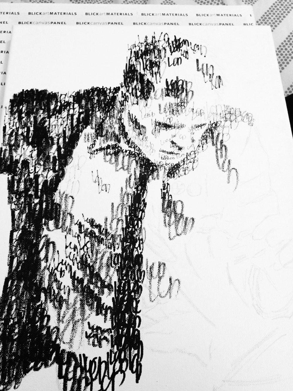 """LCD"" Commission Progress Photo, Molotow Pen on Canvas,"