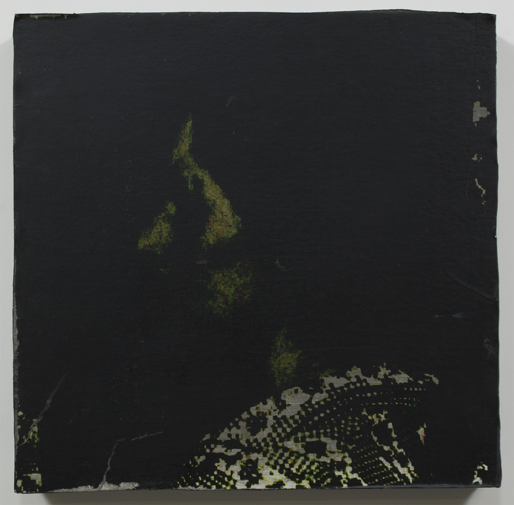 "Memory Be Green  2015 / 13.3"" x 18.2""  Charcoal, Ink, and Print on canvas on wood panel"