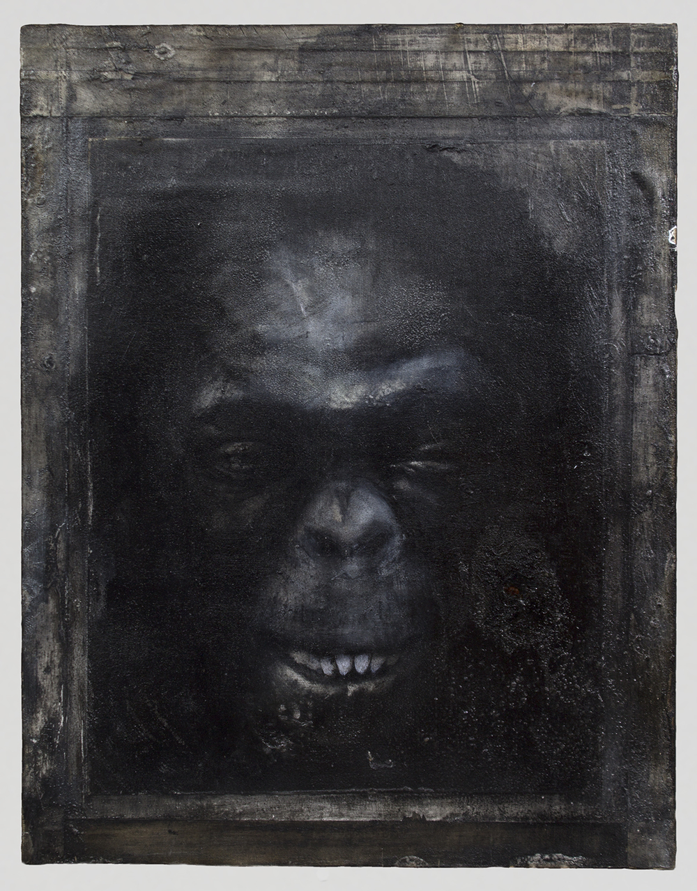 "Hominin Portrait #2  2014  18"" x 14""  Acrylic, Charcoal, Conte Crayon, Ink, Pastel, Print and Tape on paper on wood panel"