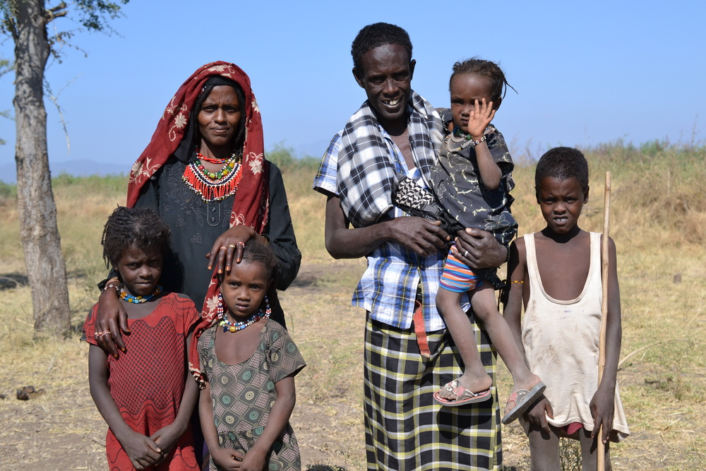 Pictured here is the Muhammed family, in the Afar region of Ethiopia. Through CFB member Canadian Lutheran World Relief and programmed locally by Ethiopian organization Support for Sustainable Development, they are learning to diversify their traditional pastoral livelihood of livestock raising to include growing cereal crops, fruits, and vegetables through irrigation. The Afar is a remote and arid northern part of Ethiopia.