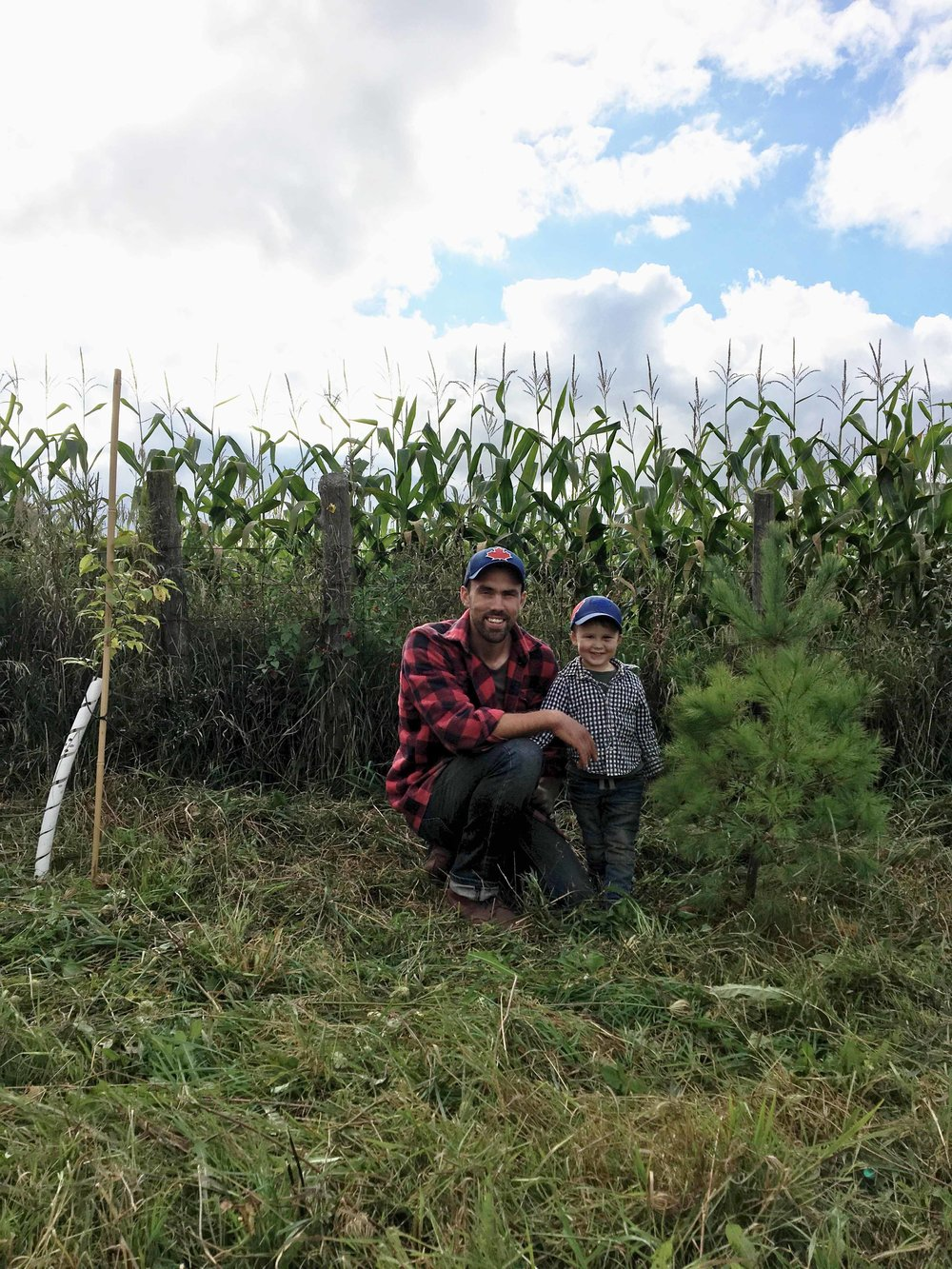 Patrick and Wyatt Kitchen in front of the new windbreak on  Sideroad Farms . The trees and vegetation will need to grow for several years before they mature and can act as a habitat.
