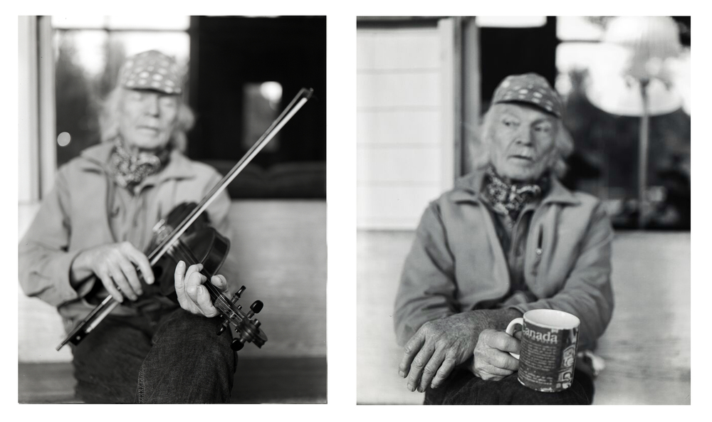 Michael Hurley with Fiddle and Tea Diptych, 2015 - I started to focus on making hand portraits of people who worked with their hands: artists, makers, bakers and cooks. I was fortunate enough to be at the right place at the right time with these images. These images of Michael Hurley were made at the Sou'Wester at the coast. It was Josh and my 6th anniversary together and we ventured out to spend Valentine's Day at the coast to see Michael Hurley sing. I love the intimate lodge at the Sou'Wester and the show was amazing.After the show and a little too much to drink, I approached Michael and asked him if I could photograph him sometime. I told him how I liked his hands, which I realized later sounds a touch creepy, no pun intended. Somehow he said yes, I think it was mostly because I had my Rolleiflex around my neck and he complimented me on it. The images were taken with my Crown Graphic 4x5 on Ilford HP5, the morning after the show, the light was glorious. Michael loves tea so much, he even wrote a song about it.
