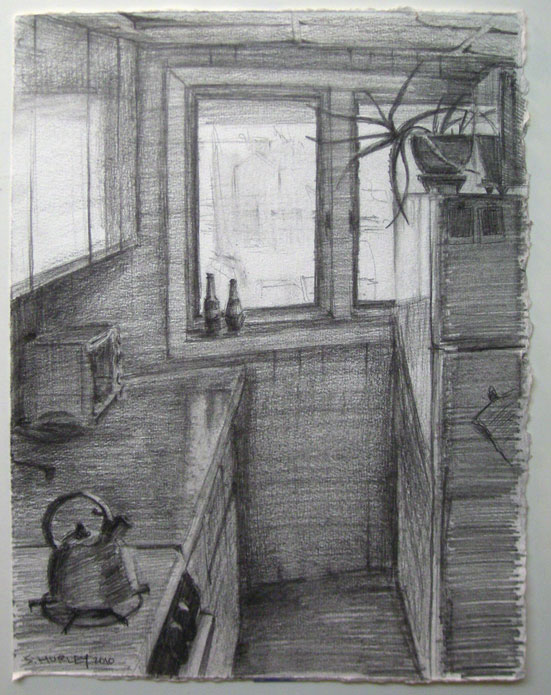 "The pencil drawing that inspired the print, 12"" x 9""."