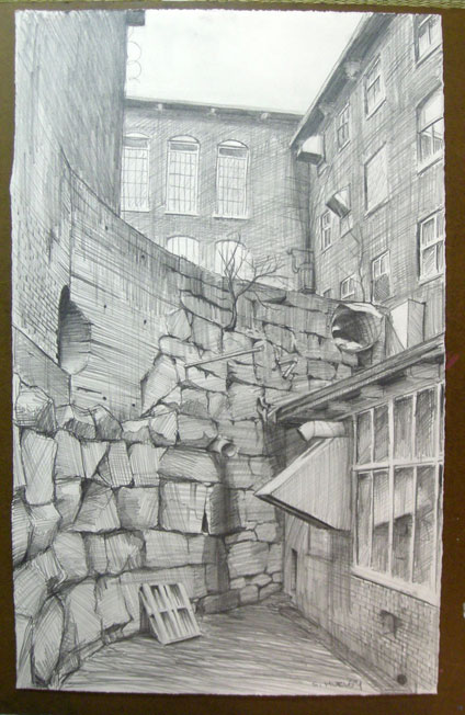 The pencil drawing I did on site, on which I based the print. This is the same size as the etching.