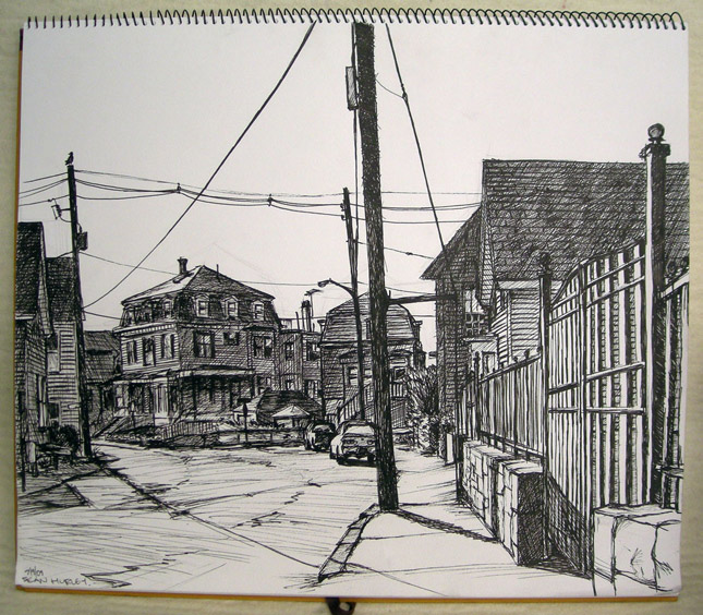 The drawing that inspired the print. I worked from a lawn chair on the sidewalk, and got a terrible sunburn.