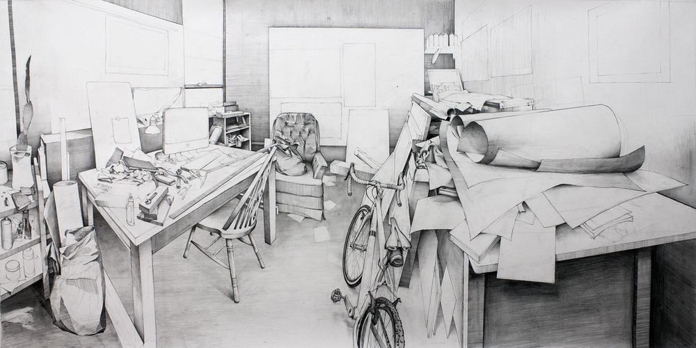"My Studio - 44"" x 90"", Pencil on Paper, 2016"