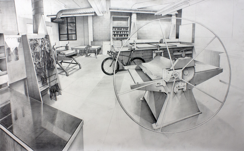 "The Shop - 48"" x 78"" - Pencil on Paper- 2016"
