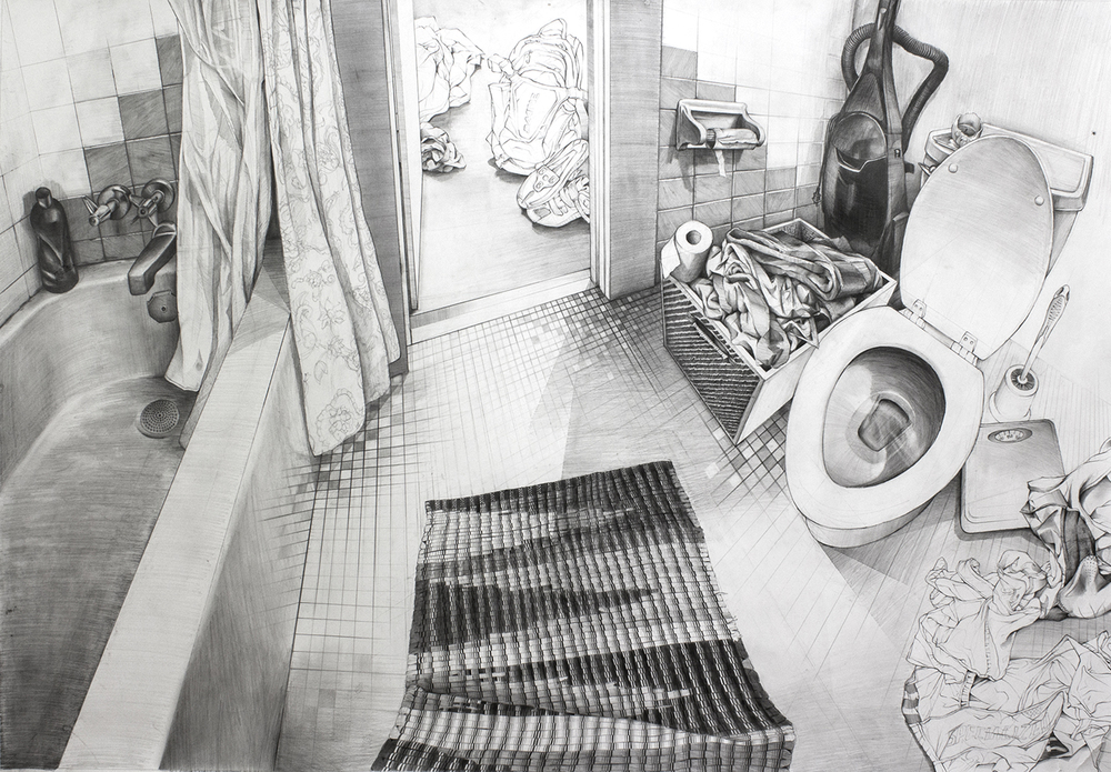 "Bathroom, 10th and Fess - 39.75"" x 57.75"" - Pencil on Paper - 2016"