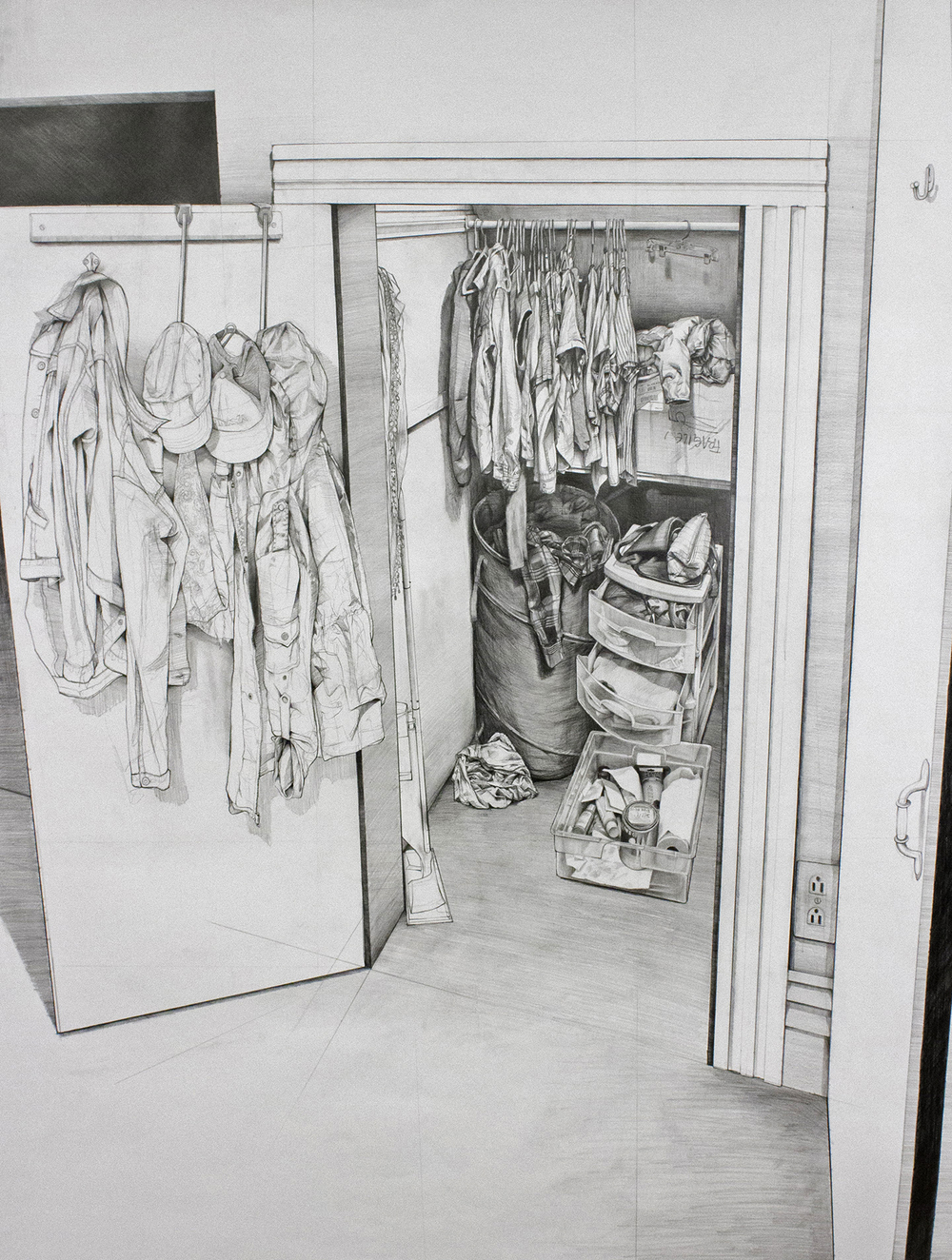 "Her Closet - 45.5"" x 60"" - Pencil on Paper - 2016"