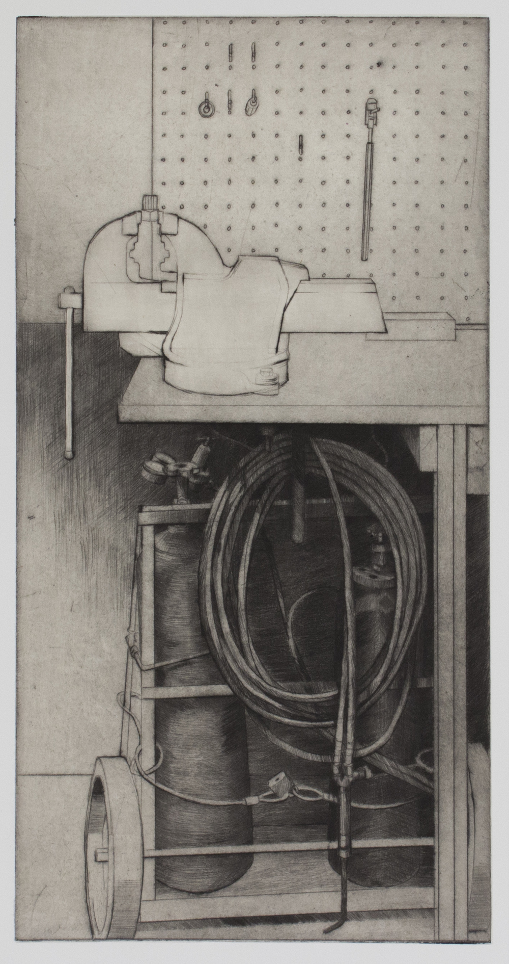 "Upstairs at the Bike Shop - 15.5"" x 7.75"" - Drypoint with Chine Colle - 2016"