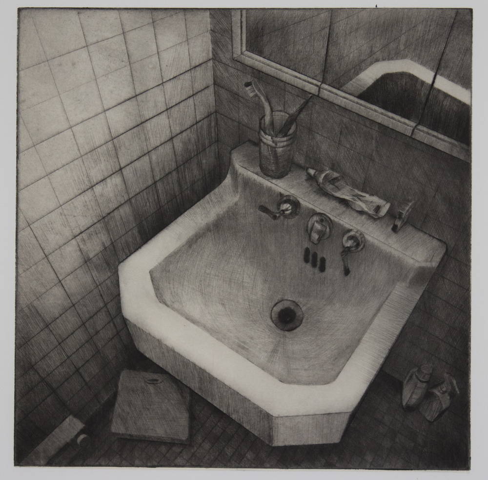 "Filthy Little Sink - Drypoint with Chine Colle - 12"" x 12"" - 2016"