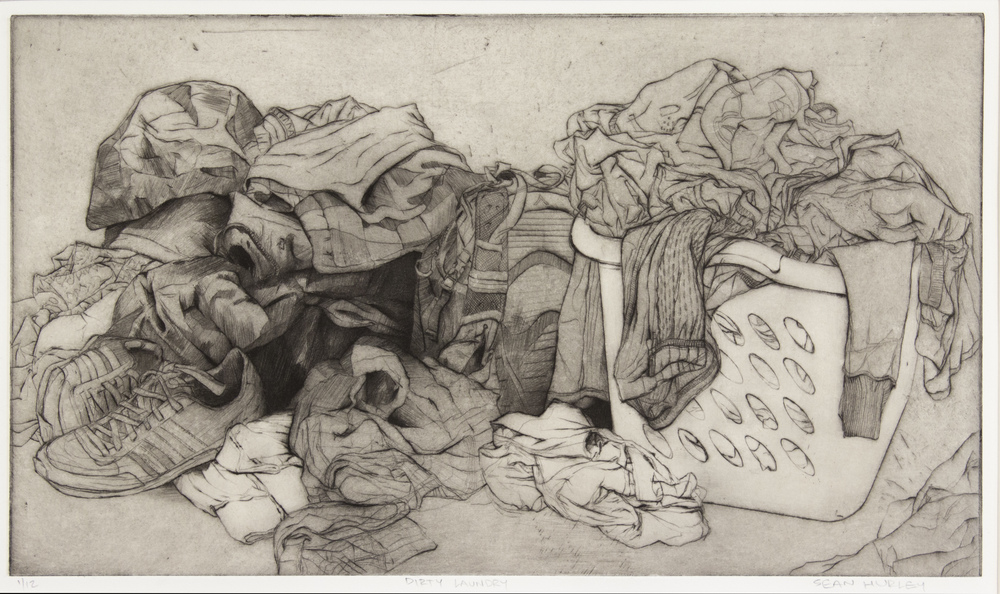 "Dirty Laundry - 9.5"" x 16"" - Drypoint with Chine Colle - 2016"