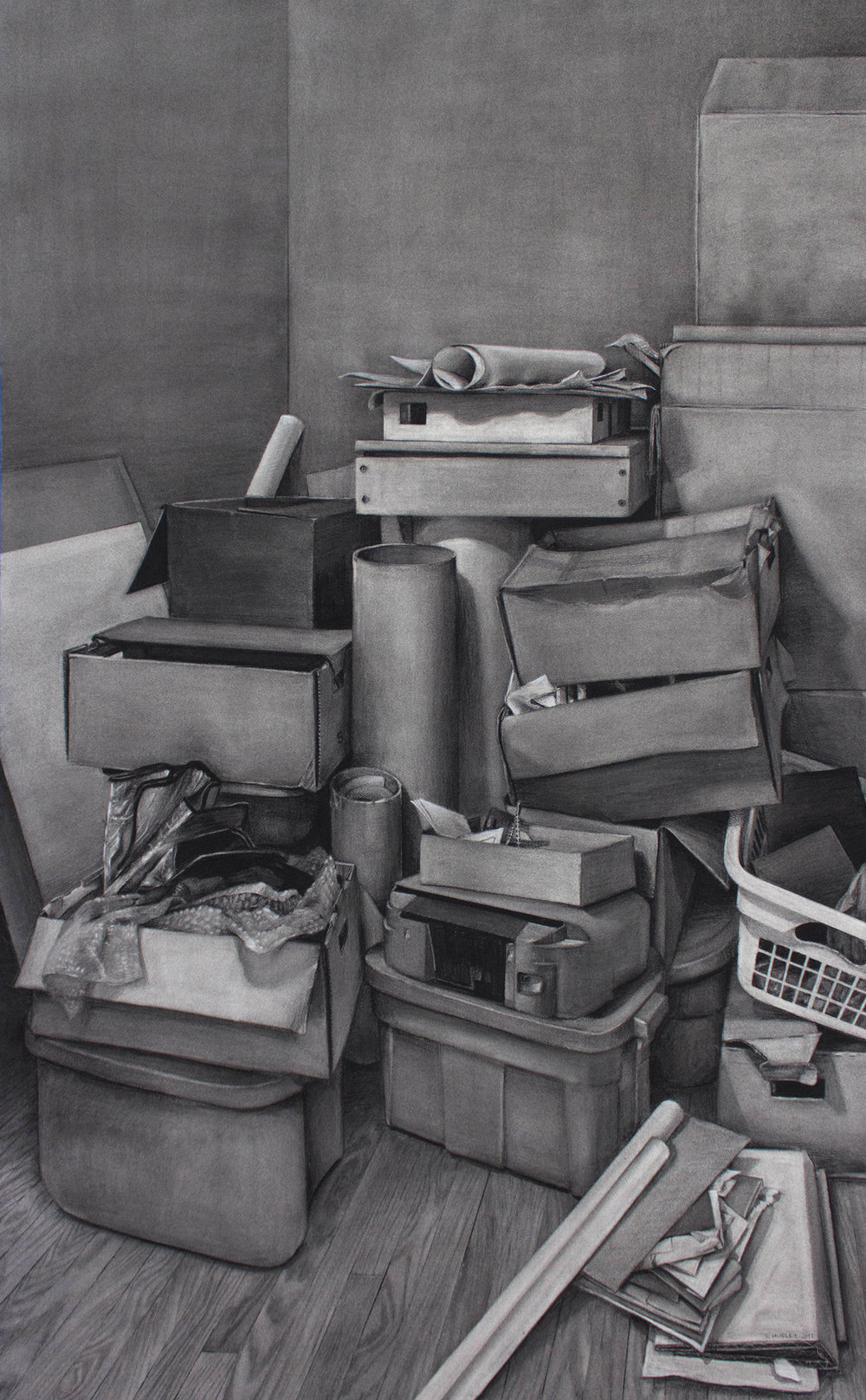 "Relocation - 67"" x 41.5"" - Charcoal - 2017"
