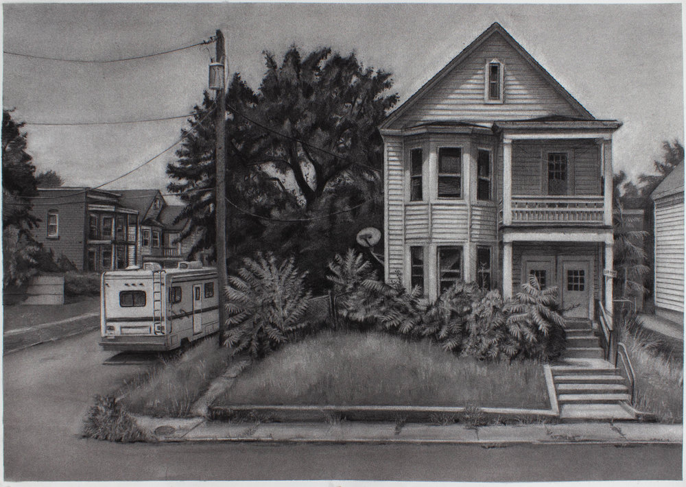 "Hutton and 12th, Troy, NY- 23.25"" x 33.5"" - charcoal on Arches Cover paper - 2018"