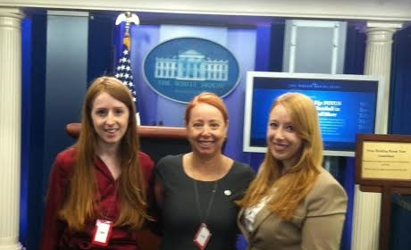 LeeAnne today with her two daughters Alexandra (left), and Victoria (right) at the White House.